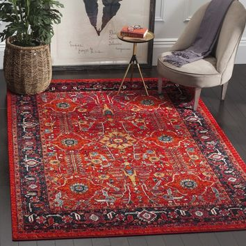 Safavieh Vintage Hamadan Traditional Orange/ Navy Distressed Rug (5' x 8') | Overstock.com Shopping - The Best Deals on 5x8 - 6x9 Rugs