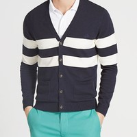 The Seacroft Cardigan - Navy & White Stripe