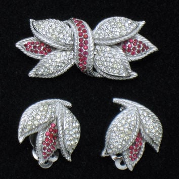 Vintage CINER Set Rhinestone Tulip Brooch Pin Earrings  Rhodium Plate