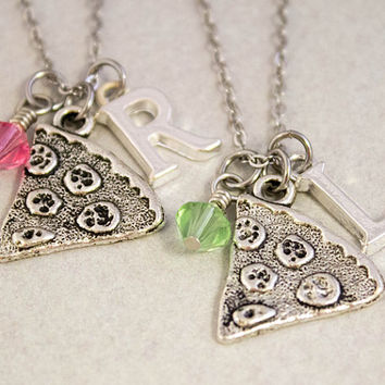 Two Best Friends Necklaces - Pizza Slice Charm Necklaces - Personalized Birthstone Jewelry - Custom Monogram Jewelry - Best Friend Gift
