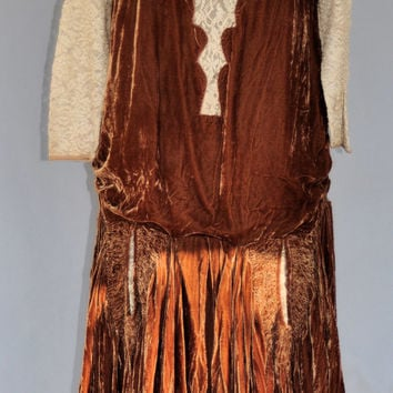 Couturier Atelier 1920s French Flapper Dress/ 1920s Brown Drop Waist Flapper Party Dress