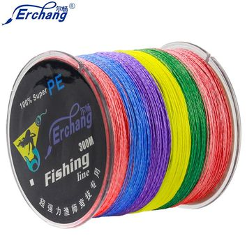 Erchang 300M Brand 4 size Super Strong Japanese colorful Multifilament PE Material Braided Fishing Line in Fishing lines