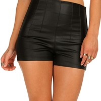 Fitted Faux Leather Shorts