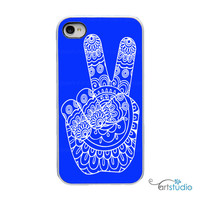 Peace Hand Henna Mehndi Style - Choose Your Color - White, Black or Clear Sides iPhone Case - IPhone 4, 4s, 5, 5s Hard Cover - artstudio54