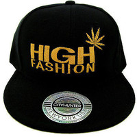 "Black & Gold ""HIGH FASHION"" MARIJUANA Leaf Snapback CAP Hat One Size UNISEX"