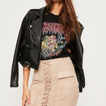Missguided - Nude Faux Suede Lace Up Front Mini Skirt