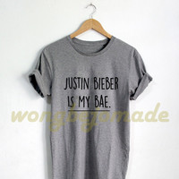 Justin Bieber Shirt Justin Bieber Is My Bae, Black Grey Maroon Navy and White Color Tshirt