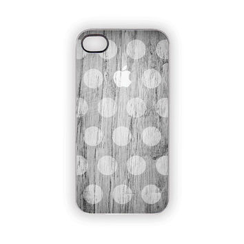 White Polka Dots on Gray iPhone Case 5 4S 4 Apple Shabby Chic Faux Weathered Wood Grain Circles Spots Vintage Beach Earthy Trendy Dots