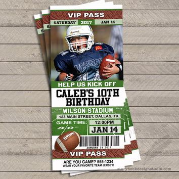Football Ticket Birthday Party Invitations