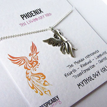 Friendship Necklace - Phoenix Friendship Necklace with Silver Phoenix Bird Charm - Perfect Best Friend Gift or Graduation Gift