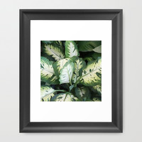 Painted Green Foliage  Framed Art Print by KCavender Designs