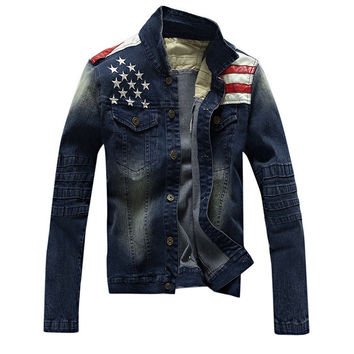 2015 New USA Design Mens Jeans Jackets American Army Style Man's Jeans Clothing Denim Jacket for Men Plus Asian Size XXXL, A515