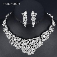 Mecresh Elegant Butterfly Crystal Bridal Jewelry Sets Gorgeous Silver Color Wedding Party Prom Necklace Earrings Sets TL354
