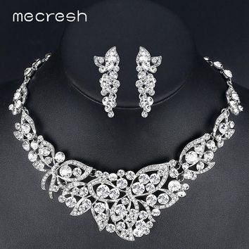 Mecresh Elegant Butterfly Crystal Bridal Jewelry Sets Gorgeous Silver Color  Wedding Party Prom Necklace Earrings Sets 4fbb7ebb9b07