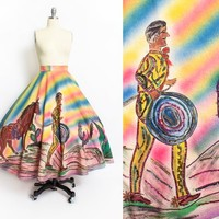 Vintage 1950s Circle Skirt - Mexican Rainbow Striped Sequin Novelty Skirt 50s - Large