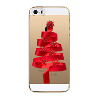 TPU Silicon Transparent Christmas Design Crystal Phone Back Cover Case Shell for Apple iPhone 5 5S