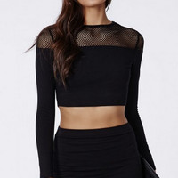 Black Fishnet Mesh Long Sleeve Crop Top M