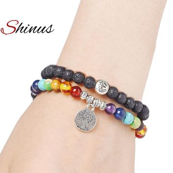 Shinus 7 Chakra Charm Bracelet Double Yoga Bracelets Men Jewelry Meditation Pride Gold Lava stone Energy Pulseira Handmad Beaded