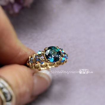 Peacock Blue Genuine Mystic Topaz Wire Wrapped Ring - Handmade Signature Design Marcella Ring