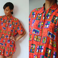 Vtg Silk Window Panes Colorful Print SS Button Up Coral Shirt