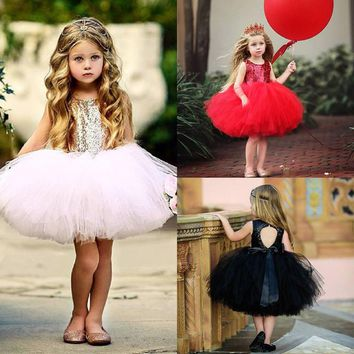 Toddler Kids Baby Girl Party Princess Dress Sequins Mini Tutu Tulle Dress Outfit