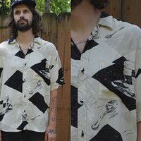 Vintage 90's Jams World Avant Garde New Wave Button Up Shirt size M