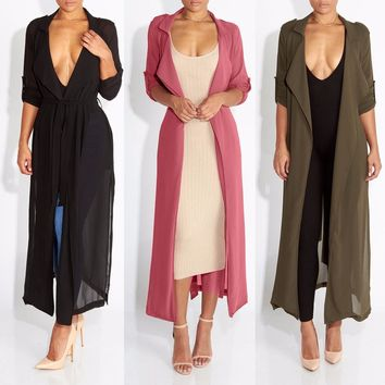 Women's Trench Coat Chiffon Long Outerwear