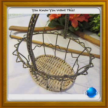 Unique Vintage Oval Wire Basket With Woven Wicker Bottom - Collectible - Basket Collector - Country Home Decor - Wonderful Gift Idea