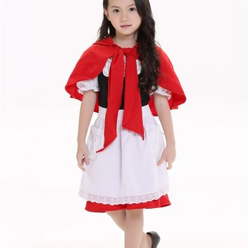 Kid Red Little Riding Hood Red Hat Kid cute Cosplay Costume Suit Dress Skirt Apron Cape for girl child/children Halloween