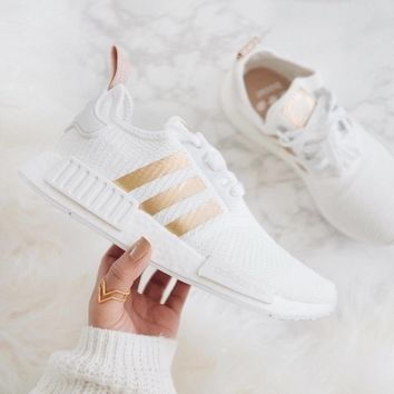 Adidas Women's NMD_R1 White/Gold Sports shoes