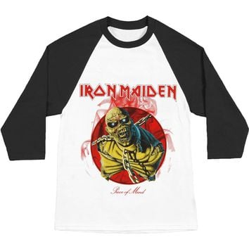 Iron Maiden Men's  Piece Of Mind Baseball Jersey Black & White Rockabilia