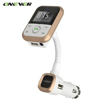 Onever Wireless Bluetooth Car Kit FM Transmitter With USB Charger MP3 Player Support USB SD Card + 3.5mm line-in jack