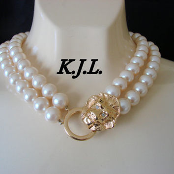 80s Kenneth J. Lane (K.J.L) for Avon Faux Pearl & Rhinestone Necklace