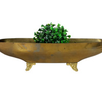 Oblong Brass Planter Window Box Long Narrow Footed Flower Succulent Holder Vintage Wedding Centerpiece Decor Windowsill Plant Container