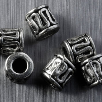 Ornate Silver Tunnel Spacer Beads 10pcs Jewellery Findings Making diyforstyle