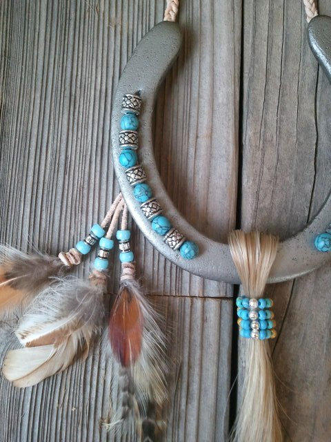 Decorated horseshoe inspired by native from for Good luck home decor