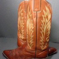 Justin Brown Lizard Western Leather Boots Women's Size 6.5