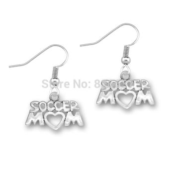 High quality antique silver plated soccer mom hand made fashion earrings