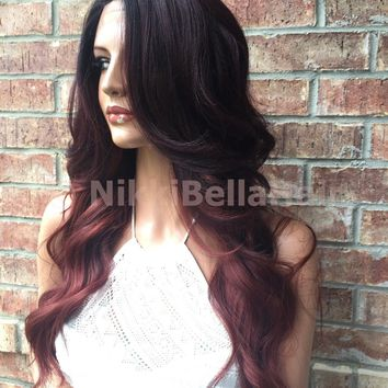 Red Burgandy Bayalage Ombre Human Hair Blend Lace Wig 22""