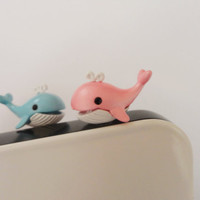 SALE 80-20%OFF: CuteWhale iPhone Plug 2 colors to pick . Phone Charm . Phone Plug . Dust Plug - Hand Painted, Cat, Kawaii, Girly