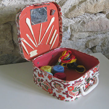 vintage child's sewing basket - French suitcase sewing box fitted with original accessories