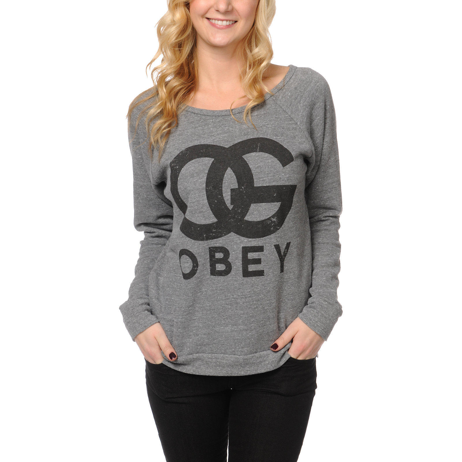 Obey Og Island Grey Pullover Hoodie - Cardigan With Buttons