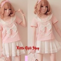 Sweet Cute Lolita BOW crew neck Heart Top Shirt + Mini Skirts Skirt 2PCS S~M