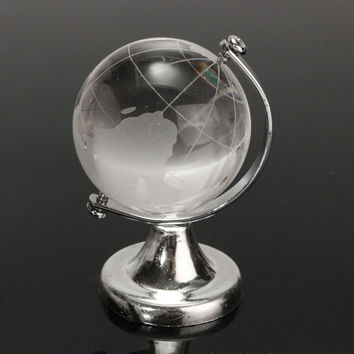Newest 4cm Crystal Glass Transparent Clear World Globe Paperweight Desk Home Office Decor Glass Crafts Ornaments Gifts