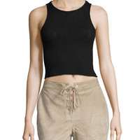 rag & bone/JEAN Suede Lace-Up Shorts, Stone