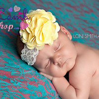 Soft Yellow Baby Headband Mesh Lace Flower Head band, Baptism christening hair band, newborn girl headband photography props, Canada