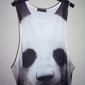 Panda Shirt Animal Tank Top Panda TShirt Panda Tank Top Animal T-Shirt Men Shirt Tank Top Sleeveless White T-Shirt Singlet Size M