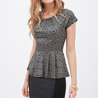 LOVE 21 Pleated Metallic-Woven Peplum Top Black/Gold