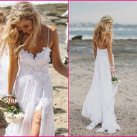 2016 Beach Wedding Dresses Sexy Backless White Spaghetti See Through Sweep Train High Low Lace Chiffon Sheer Sexy Bridal Gown Dress CPS071 under 70$ [8400568199]