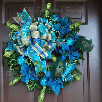 christmas wreath blue green and gold peacock christmas wreath holiday wreath evergreen - Peacock Blue Christmas Decorations